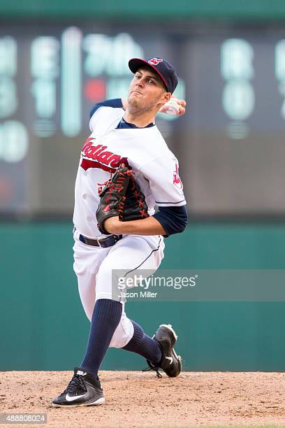 Starting pitcher Trevor Bauer of the Cleveland Indians pitches during the second inning against the Detroit Tigers during game two of a double header...