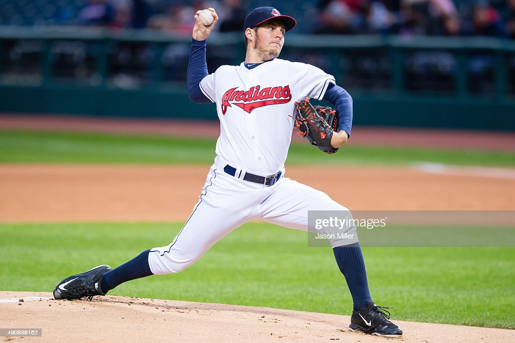 Starting pitcher <a gi-track='captionPersonalityLinkClicked' href=/galleries/search?phrase=Trevor+Bauer+-+Baseball+Player&family=editorial&specificpeople=11364936 ng-click='$event.stopPropagation()'>Trevor Bauer</a> #47 of the Cleveland Indians pitches during the first inning against the Minnesota Twins at Progressive Field on October 1, 2015 in Cleveland, Ohio during game two of a doubleheader.