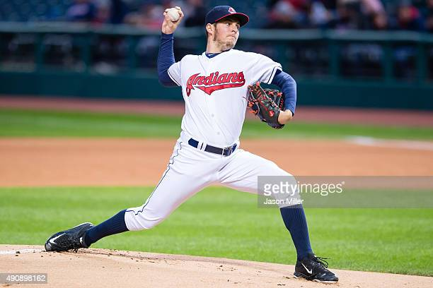 Starting pitcher Trevor Bauer of the Cleveland Indians pitches during the first inning against the Minnesota Twins at Progressive Field on October 1...