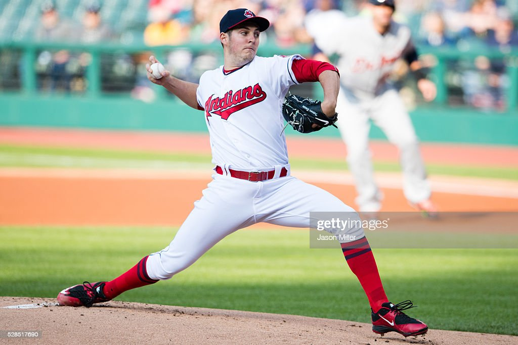 Starting pitcher Trevor Bauer #47 of the Cleveland Indians pitches during the first inning against the Detroit Tigers at Progressive Field on May 5, 2016 in Cleveland, Ohio.