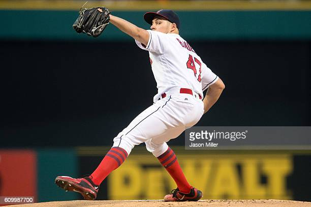 Starting pitcher Trevor Bauer of the Cleveland Indians pitches during the first inning against the Chicago White Sox at Progressive Field on...