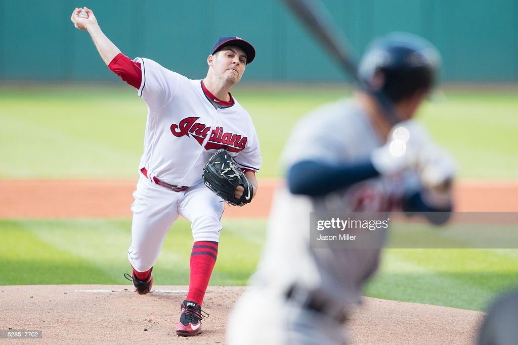Starting pitcher Trevor Bauer #47 of the Cleveland Indians pitches to Ian Kinsler #3 of the Detroit Tigers during the first inning at Progressive Field on May 5, 2016 in Cleveland, Ohio.