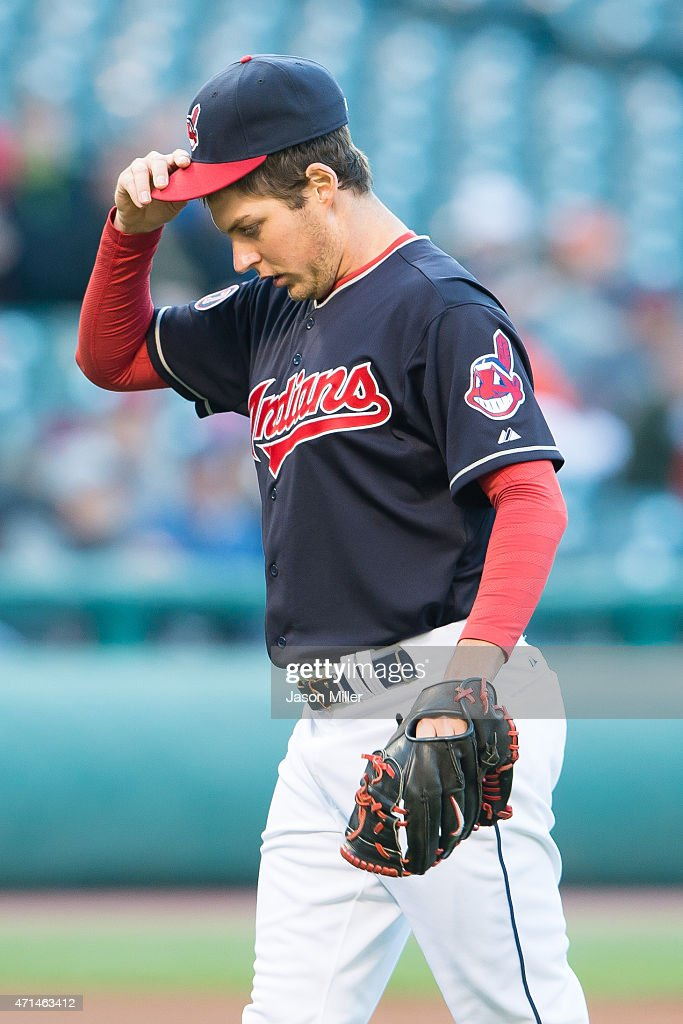 Starting pitcher <a gi-track='captionPersonalityLinkClicked' href=/galleries/search?phrase=Trevor+Bauer+-+Baseball+Player&family=editorial&specificpeople=11364936 ng-click='$event.stopPropagation()'>Trevor Bauer</a> #47 of the Cleveland Indians reacts after being called for a balk during the third inning against the Kansas City Royals at Progressive Field on April 28, 2015 in Cleveland, Ohio.