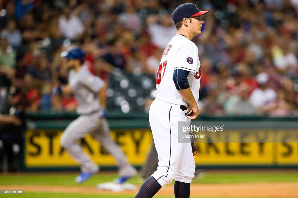 Starting pitcher <a gi-track='captionPersonalityLinkClicked' href=/galleries/search?phrase=Trevor+Bauer+-+Baseball+Player&family=editorial&specificpeople=11364936 ng-click='$event.stopPropagation()'>Trevor Bauer</a> #47 of the Cleveland Indians reacts after giving up the game winning home run to <a gi-track='captionPersonalityLinkClicked' href=/galleries/search?phrase=Eric+Hosmer&family=editorial&specificpeople=7091345 ng-click='$event.stopPropagation()'>Eric Hosmer</a> #35 of the Kansas City Royals during the ninth inning at Progressive Field on July 28, 2015 in Cleveland, Ohio.