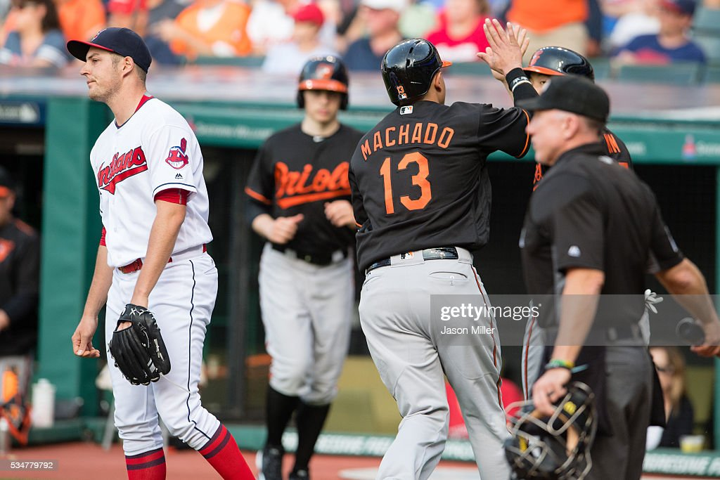 Starting pitcher <a gi-track='captionPersonalityLinkClicked' href=/galleries/search?phrase=Trevor+Bauer+-+Baseball+Player&family=editorial&specificpeople=11364936 ng-click='$event.stopPropagation()'>Trevor Bauer</a> #47 of the Cleveland Indians reacts as <a gi-track='captionPersonalityLinkClicked' href=/galleries/search?phrase=Manny+Machado&family=editorial&specificpeople=5591039 ng-click='$event.stopPropagation()'>Manny Machado</a> #13 and Hyun Soo Kim #25 of the Baltimore Orioles celebrate after scoring during the first inning at Progressive Field on May 27, 2016 in Cleveland, Ohio.