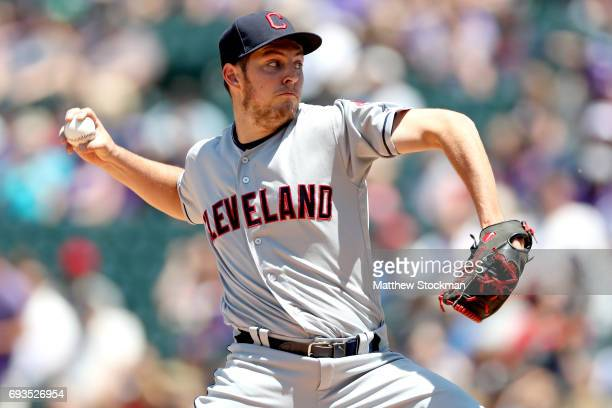 Starting pitcher Trevor Bauer of the Cleveland Indians throws in the first inning against the Colorado Rockies at Coors Field on June 7 2017 in...
