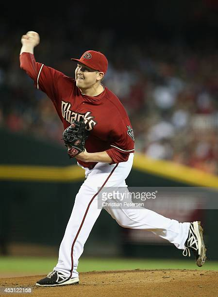 Starting pitcher Trevor Cahill of the Arizona Diamondbacks pitches against the Pittsburgh Pirates during the MLB game at Chase Field on August 3 2014...