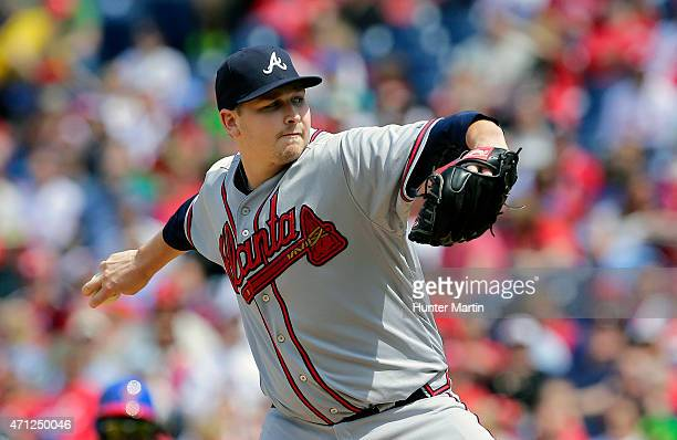 Starting pitcher Trevor Cahill of the Atlanta Braves throws a pitch in the first inning during a game against the Philadelphia Phillies at Citizens...