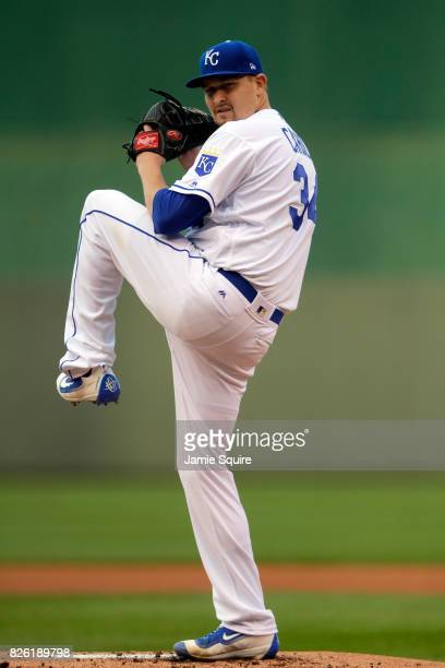 Starting pitcher Trevor Cahill of the Kansas City Royals warms up prior to the start of the game against the Seattle Mariners at Kauffman Stadium on...
