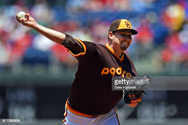 Starting pitcher Trevor Cahill of the San Diego Padres delivers a pitch in the first inning against the Philadelphia Phillies at Citizens Bank Park...