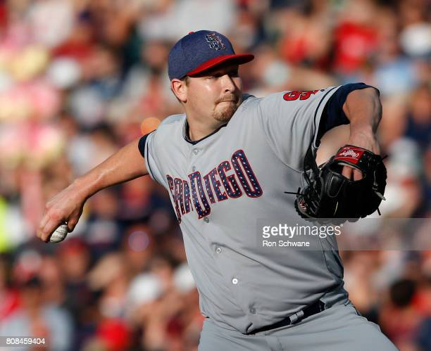Starting pitcher Trevor Cahill of the San Diego Padres pitches against the Cleveland Indians during the second inning at Progressive Field on July 4...