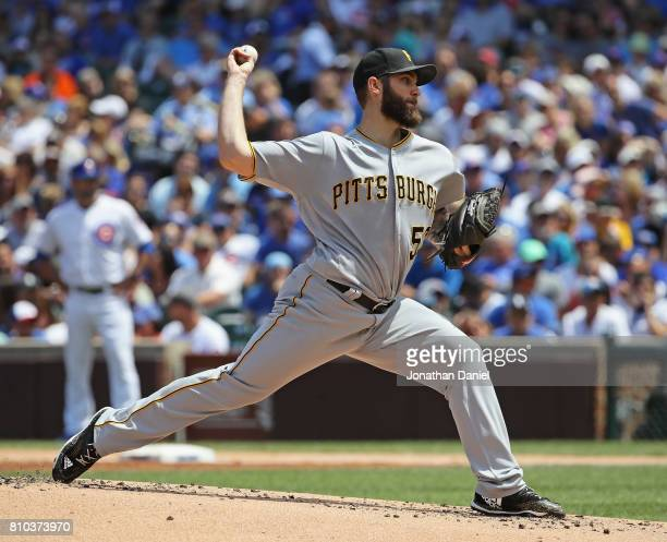 Starting pitcher Trevor Williams of the Pittsburgh Pirates delivers the ball against the Chicago Cubs at Wrigley Field on July 7 2017 in Chicago...