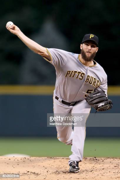 Starting pitcher Trevor Williams of the Pittsburgh Pirates throws in the first inning against the Colorado Rockies at Coors Field on July 21 2017 in...