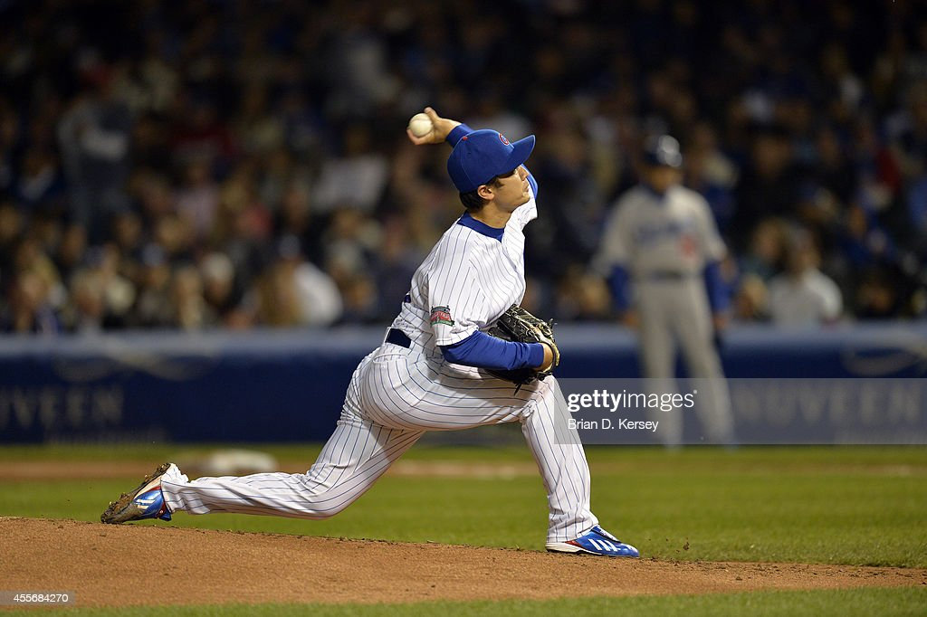 Starting pitcher Tsuyoshi Wada #67 of the Chicago Cubs delivers a pitch during the second inning against the Los Angeles Dodgers at Wrigley Field on September 18, 2014 in Chicago, Illinois. The Dodgers defeated the Cubs 8-4.