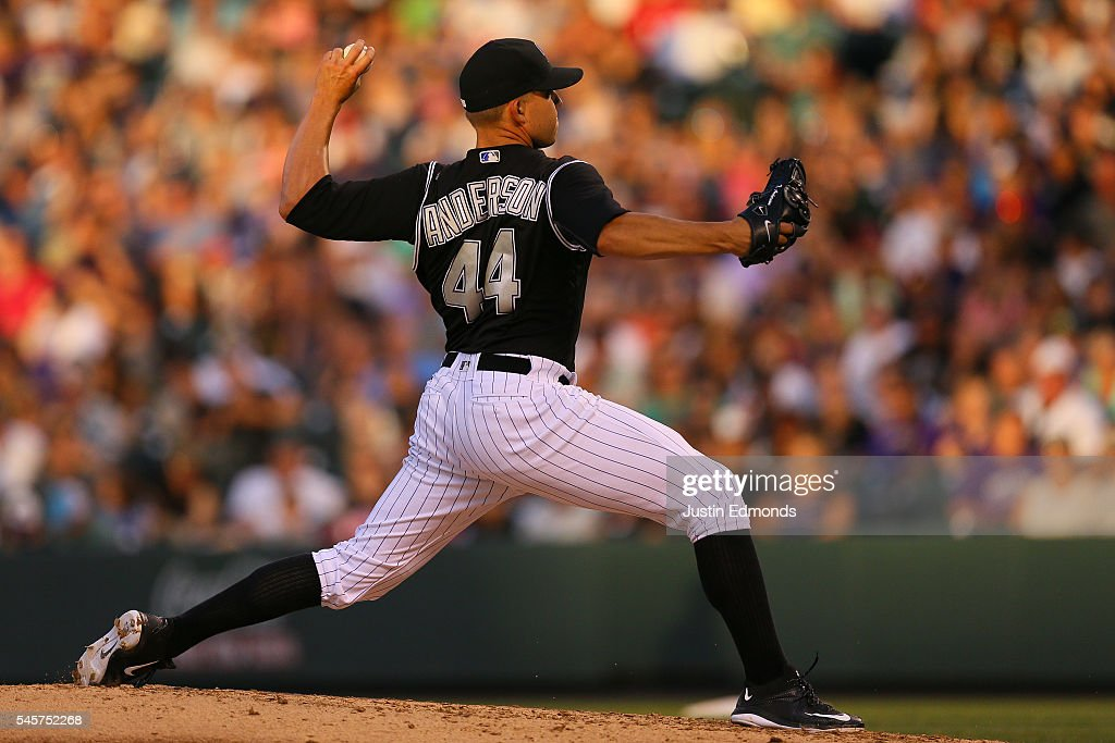 Starting pitcher Tyler Anderson #44 of the Colorado Rockies delivers to home plate during the sixth inning against the Philadelphia Phillies at Coors Field on July 9, 2016 in Denver, Colorado.