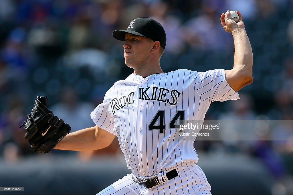 Starting pitcher Tyler Anderson #44 of the Colorado Rockies delivers to home plate during the seventh inning against the Los Angeles Dodgers at Coors Field on August 31, 2016 in Denver, Colorado.