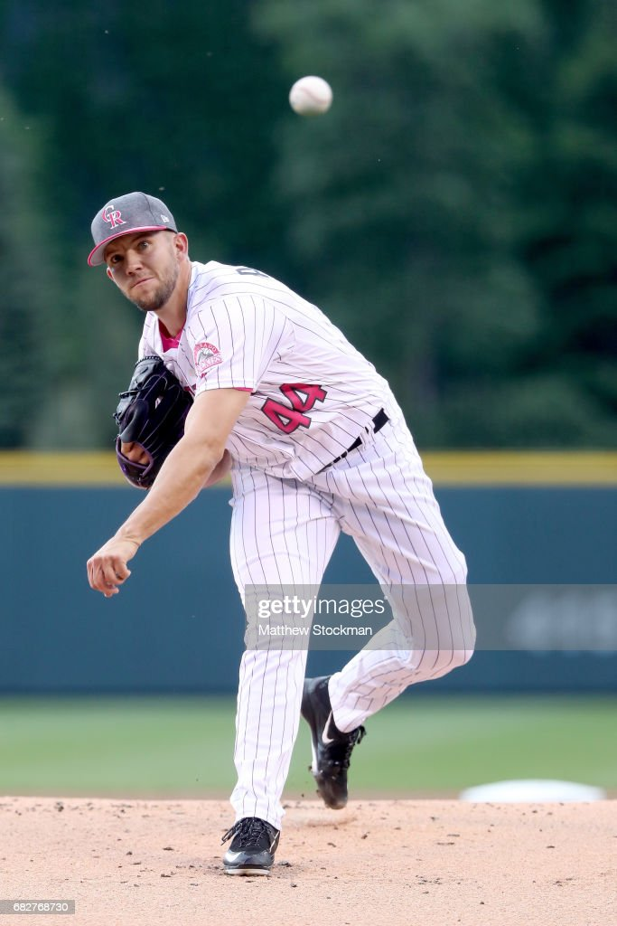 Starting pitcher Tyler Anderson #44 of the Colorado Rockies throws in the first inning against the Los Angeles Dodgers at Coors Field on May 13, 2017 in Denver, Colorado. Players are wearing pink to celebrate Mother's Day weekend and support breast cancer awareness.