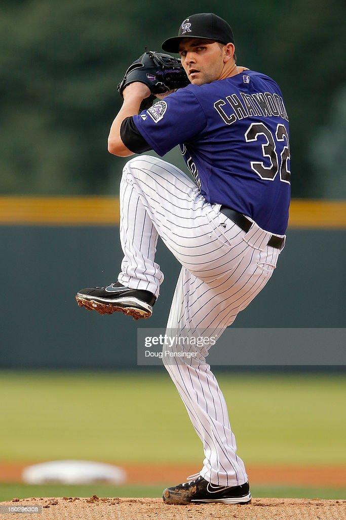 Starting pitcher Tyler Chatwood #32 of the Colorado Rockies delivers against the Milwaukee Brewers at Coors Field on August 14, 2012 in Denver, Colorado. Chatwood earned the win as the Rockies defeated the Brewers 8-6.