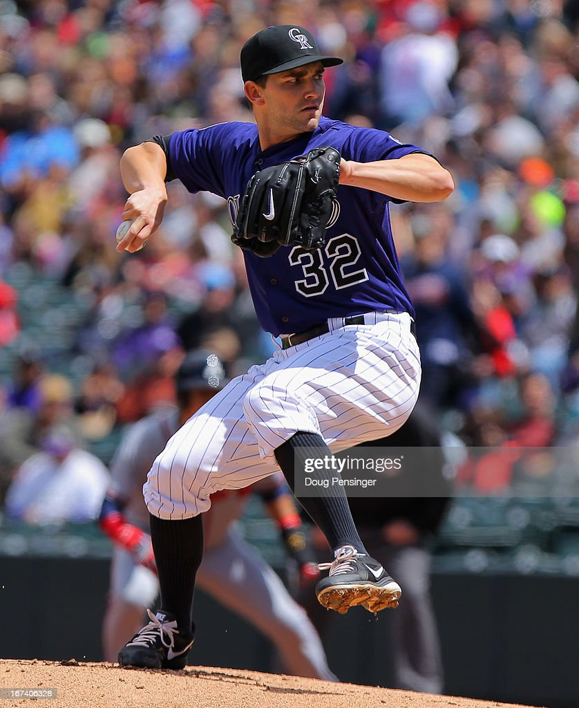 Starting pitcher <a gi-track='captionPersonalityLinkClicked' href=/galleries/search?phrase=Tyler+Chatwood&family=editorial&specificpeople=6795489 ng-click='$event.stopPropagation()'>Tyler Chatwood</a> #32 of the Colorado Rockies delivers against the Atlanta Braves at Coors Field on April 24, 2013 in Denver, Colorado. The Rockies defeated the Braves 6-5 in 12 innings.