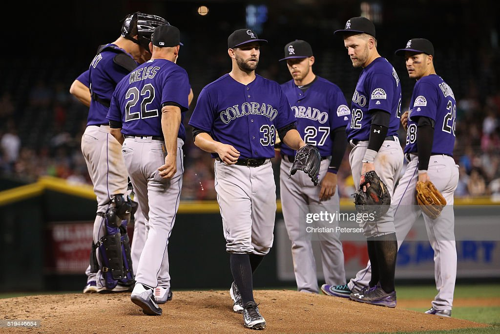 Starting pitcher Tyler Chatwood #32 of the Colorado Rockies is removed by manager Walt Weiss #22 during the seventh inning of the MLB game against the Arizona Diamondbacks at Chase Field on April 6, 2016 in Phoenix, Arizona.