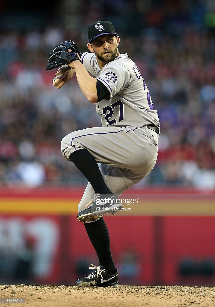 Starting pitcher <a gi-track='captionPersonalityLinkClicked' href=/galleries/search?phrase=Tyler+Chatwood&family=editorial&specificpeople=6795489 ng-click='$event.stopPropagation()'>Tyler Chatwood</a> #27 of the Colorado Rockies pitches against the Arizona Diamondbacks during the MLB game at Chase Field on April 29, 2014 in Phoenix, Arizona.