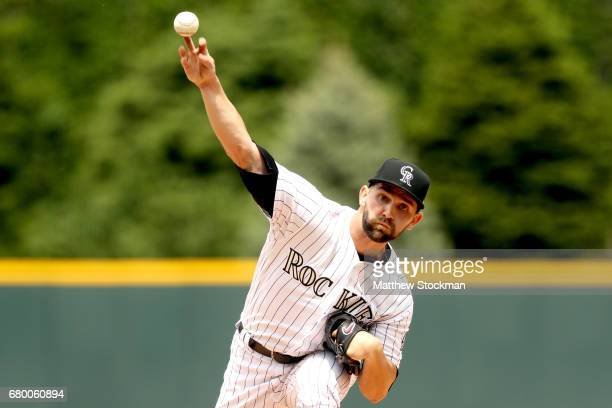 Starting pitcher Tyler Chatwood of the Colorado Rockies throws in the first inning against the Arizona Diamondbacks at Coors Field on May 7 2017 in...