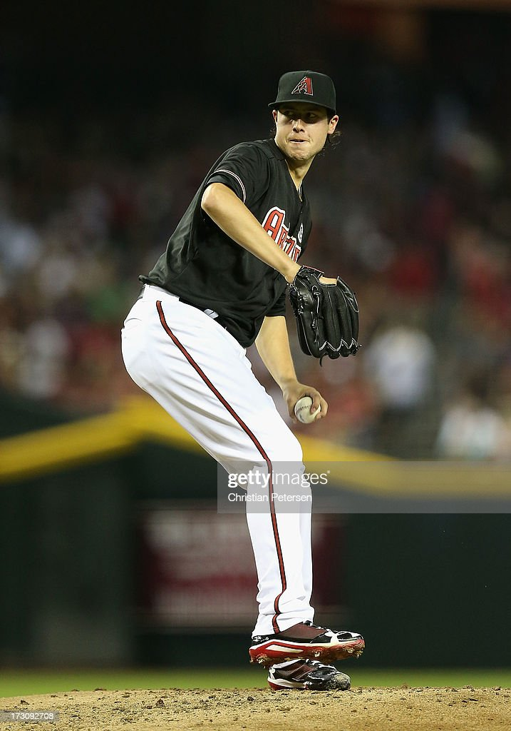 Starting pitcher <a gi-track='captionPersonalityLinkClicked' href=/galleries/search?phrase=Tyler+Skaggs&family=editorial&specificpeople=7934164 ng-click='$event.stopPropagation()'>Tyler Skaggs</a> #37 of the Arizona Diamondbacks pitches against the Colorado Rockies during the MLB game at Chase Field on July 5, 2013 in Phoenix, Arizona. The Diamondbacks defeated the Rockies 5-0.