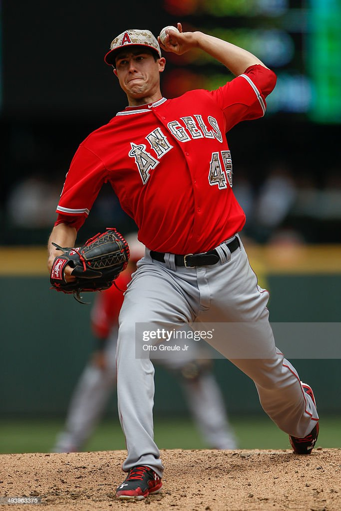 Starting pitcher <a gi-track='captionPersonalityLinkClicked' href=/galleries/search?phrase=Tyler+Skaggs&family=editorial&specificpeople=7934164 ng-click='$event.stopPropagation()'>Tyler Skaggs</a> #45 of the Los Angeles Angels of Anaheim pitches in the second inning against the Seattle Mariners at Safeco Field on May 26, 2014 in Seattle, Washington. The Mariners defeated the Angels 5-1.