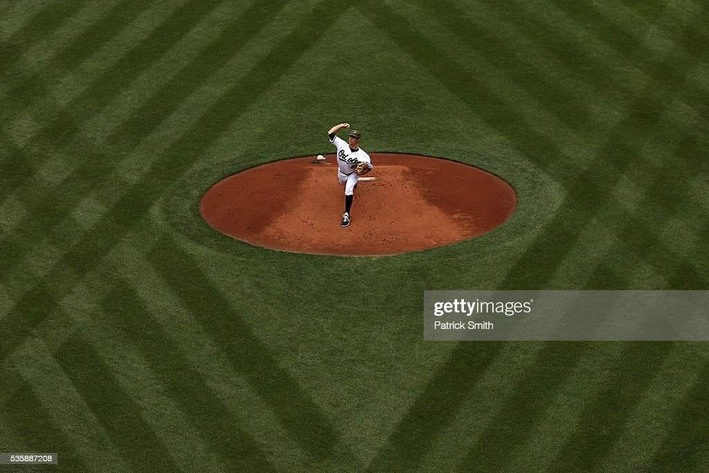 Starting pitcher Tyler Wilson #63 of the Baltimore Orioles works the first inning against the Boston Red Sox at Oriole Park at Camden Yards on May 30, 2016 in Baltimore, Maryland.