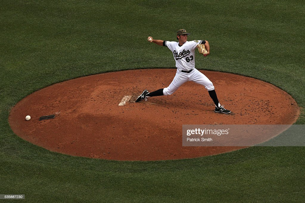 Starting pitcher <a gi-track='captionPersonalityLinkClicked' href=/galleries/search?phrase=Tyler+Wilson+-+Baseball+Player&family=editorial&specificpeople=14638083 ng-click='$event.stopPropagation()'>Tyler Wilson</a> #63 of the Baltimore Orioles works the second inning against the Boston Red Sox at Oriole Park at Camden Yards on May 30, 2016 in Baltimore, Maryland.