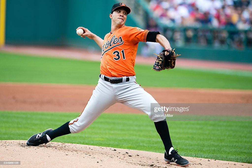 Starting pitcher <a gi-track='captionPersonalityLinkClicked' href=/galleries/search?phrase=Ubaldo+Jimenez&family=editorial&specificpeople=2539590 ng-click='$event.stopPropagation()'>Ubaldo Jimenez</a> #31 of the Baltimore Orioles pitches during the first inning against the Cleveland Indians at Progressive Field on May 28, 2016 in Cleveland, Ohio.