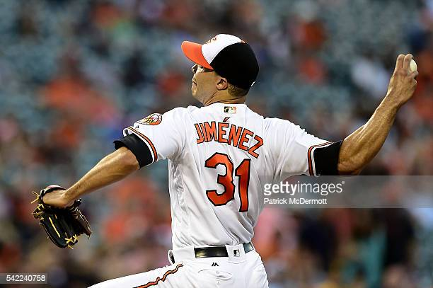 Starting pitcher Ubaldo Jimenez of the Baltimore Orioles throws a pitch against the San Diego Padres in the fourth inning during a MLB baseball game...