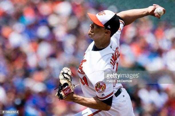 Starting pitcher Ubaldo Jimenez of the Baltimore Orioles throws a pitch to a Chicago Cubs batter in the first inning during a game at Oriole Park at...