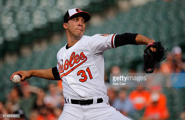 Starting pitcher Ubaldo Jimenez of the Baltimore Orioles throws to a Houston Astros batter in the first inning at Oriole Park at Camden Yards on May...