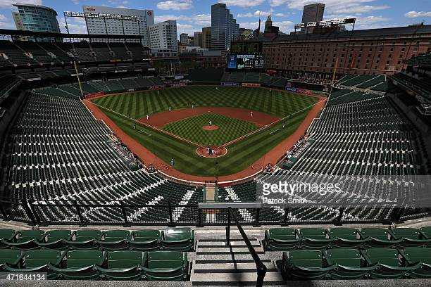 Starting pitcher Ubaldo Jimenez of the Baltimore Orioles works Jose Abreu of the Chicago White Sox in the first inning at an empty Oriole Park at...