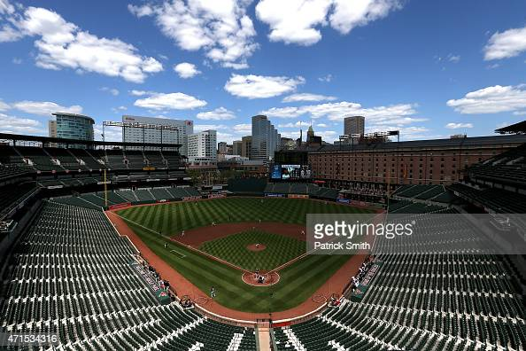 Starting pitcher Ubaldo Jimenez of the Baltimore Orioles works the first inning against batter Jose Abreu of the Chicago White Sox at an empty Oriole...