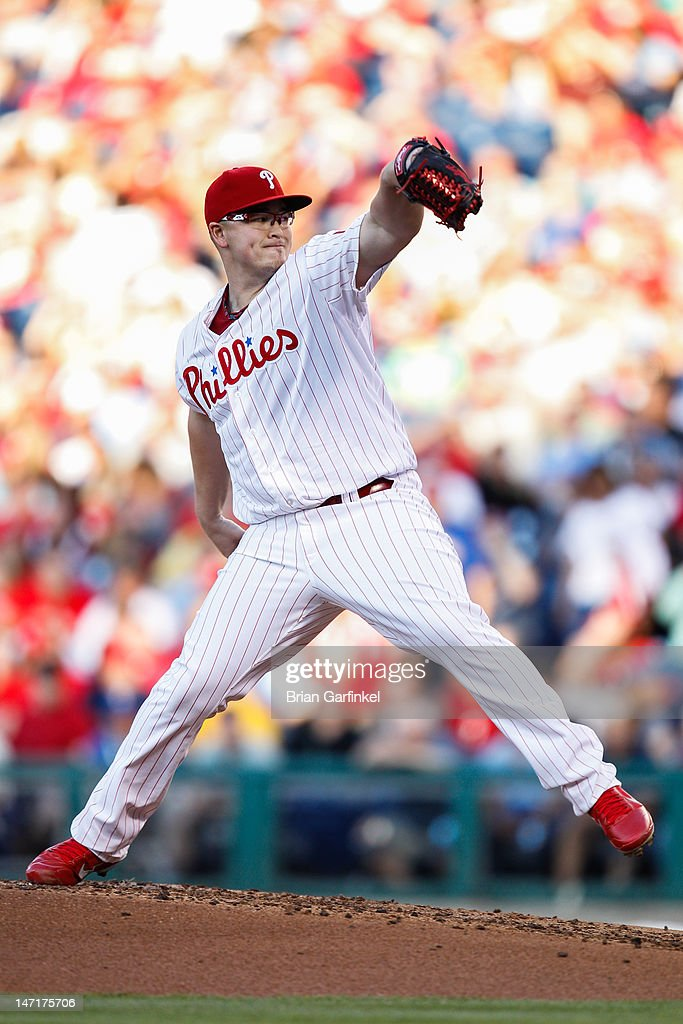 Starting pitcher <a gi-track='captionPersonalityLinkClicked' href=/galleries/search?phrase=Vance+Worley&family=editorial&specificpeople=7115988 ng-click='$event.stopPropagation()'>Vance Worley</a> #49 of the Philadelphia Phillies throws a pitch during the game against the Pittsburgh Pirates at Citizens Bank Park on June 26, 2012 in Philadelphia, Pennsylvania.