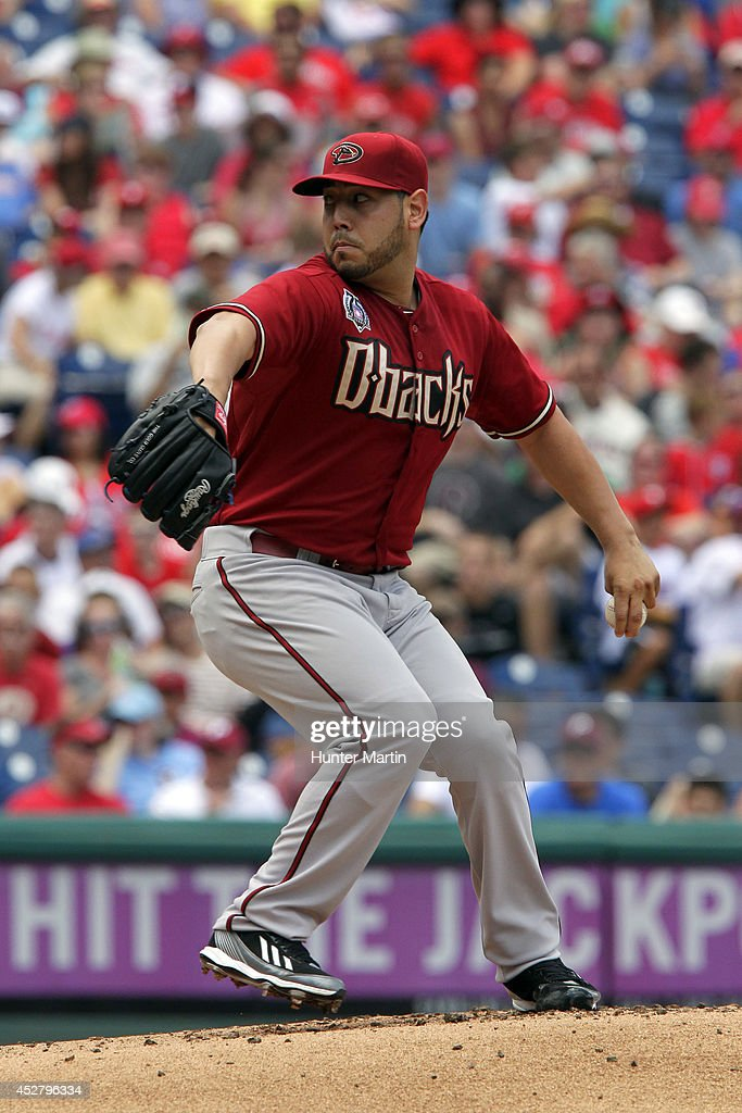 Starting pitcher Vidal Nuno #54 of the Arizona Diamondbacks throws a pitch in the first inning during a game against the Philadelphia Phillies at Citizens Bank Park on July 27, 2014 in Philadelphia, Pennsylvania.