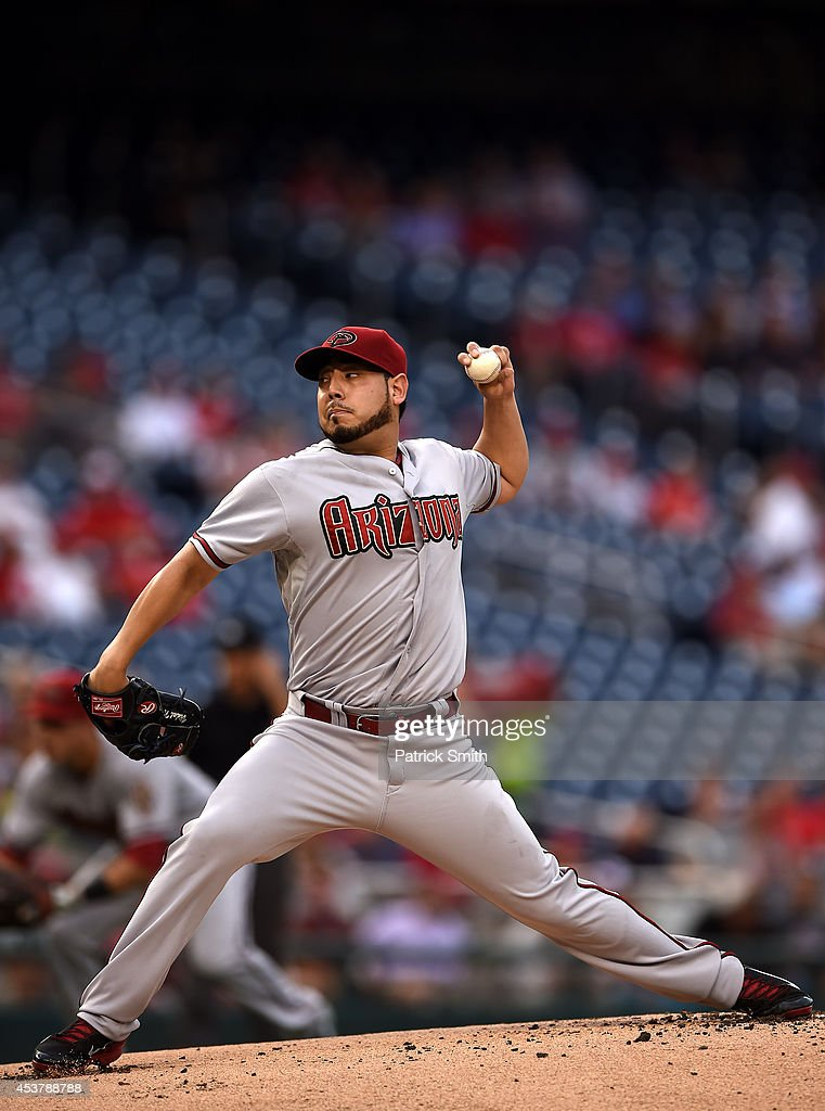 Starting pitcher Vidal Nuno #54 of the Arizona Diamondbacks works the first inning against the Washington Nationals at Nationals Park on August 18, 2014 in Washington, DC.