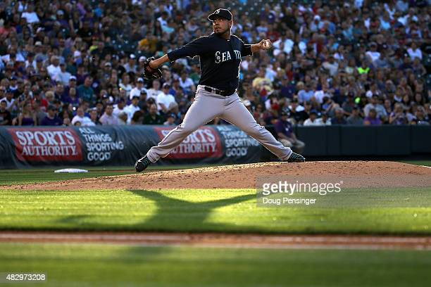 Starting pitcher Vidal Nuno of the Seattle Mariners delivers against the Colorado Rockies during interleague play at Coors Field on August 4 2015 in...