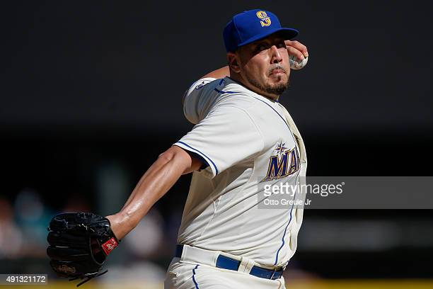 Starting pitcher Vidal Nuno of the Seattle Mariners pitches against the Oakland Athletics in the first inning at Safeco Field on October 4 2015 in...