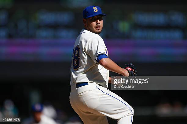 Starting pitcher Vidal Nuno of the Seattle Mariners pitches against the Oakland Athletics at Safeco Field on October 4 2015 in Seattle Washington