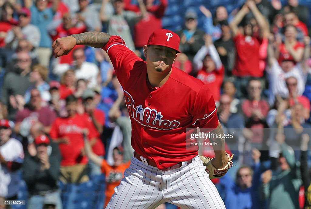 Starting pitcher Vince Velasquez of the Philadelphia Phillies celebrates after his shut out victory against the San Diego Padres at Citizens Bank...