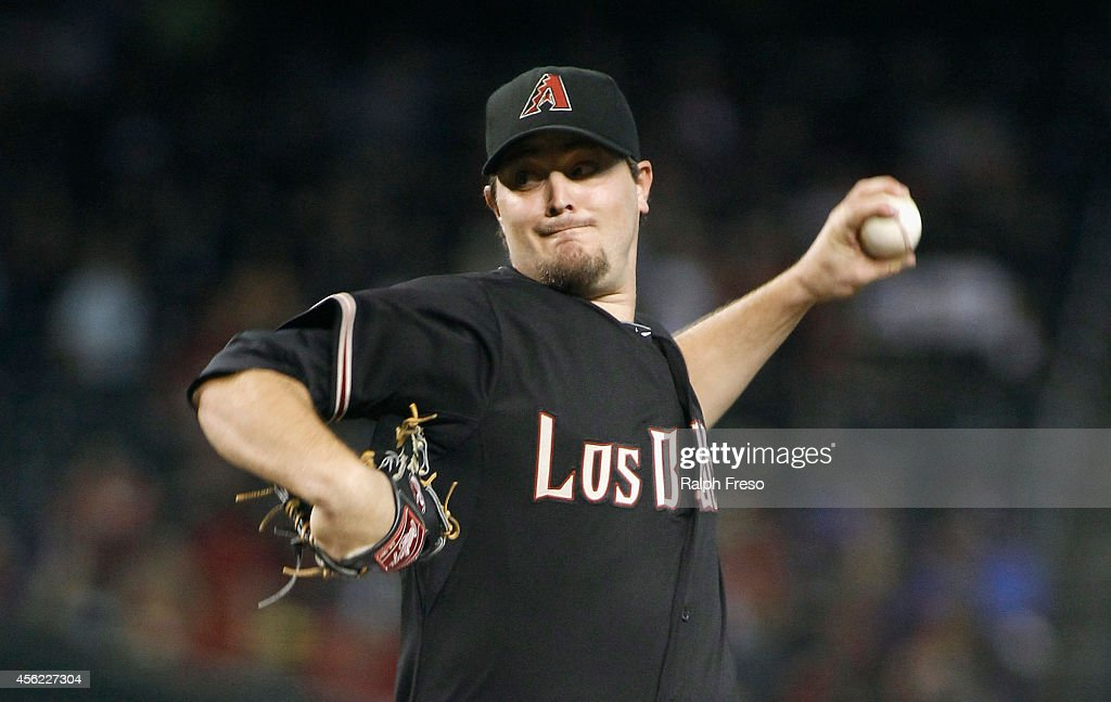Starting pitcher Wade Miley of the Arizona Diamondbacks delivers a pitch against the St Louis Cardinals during the first inning of a MLB game at...