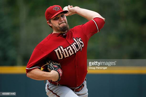 Starting pitcher Wade Miley of the Arizona Diamondbacks delivers against the Colorado Rockies at Coors Field on September 21 2014 in Denver Colorado