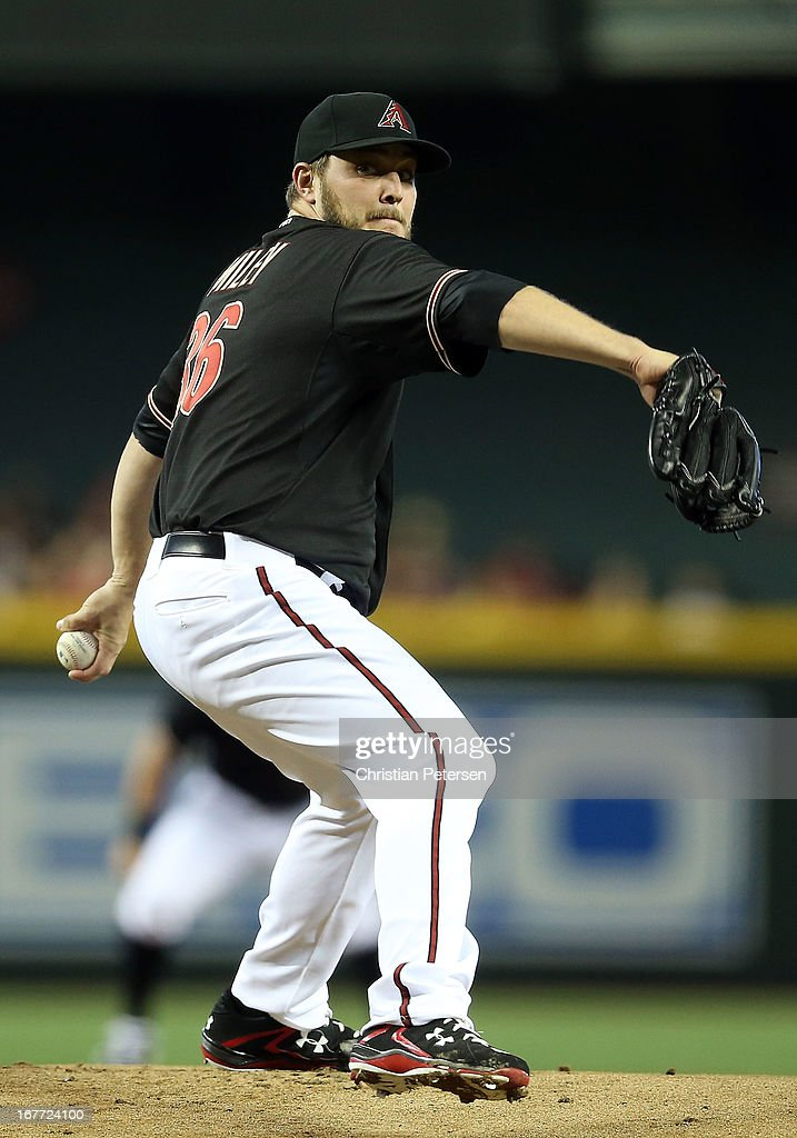Starting pitcher <a gi-track='captionPersonalityLinkClicked' href=/galleries/search?phrase=Wade+Miley&family=editorial&specificpeople=7511054 ng-click='$event.stopPropagation()'>Wade Miley</a> #36 of the Arizona Diamondbacks pitches against the Colorado Rockies during the MLB game at Chase Field on April 27, 2013 in Phoenix, Arizona.