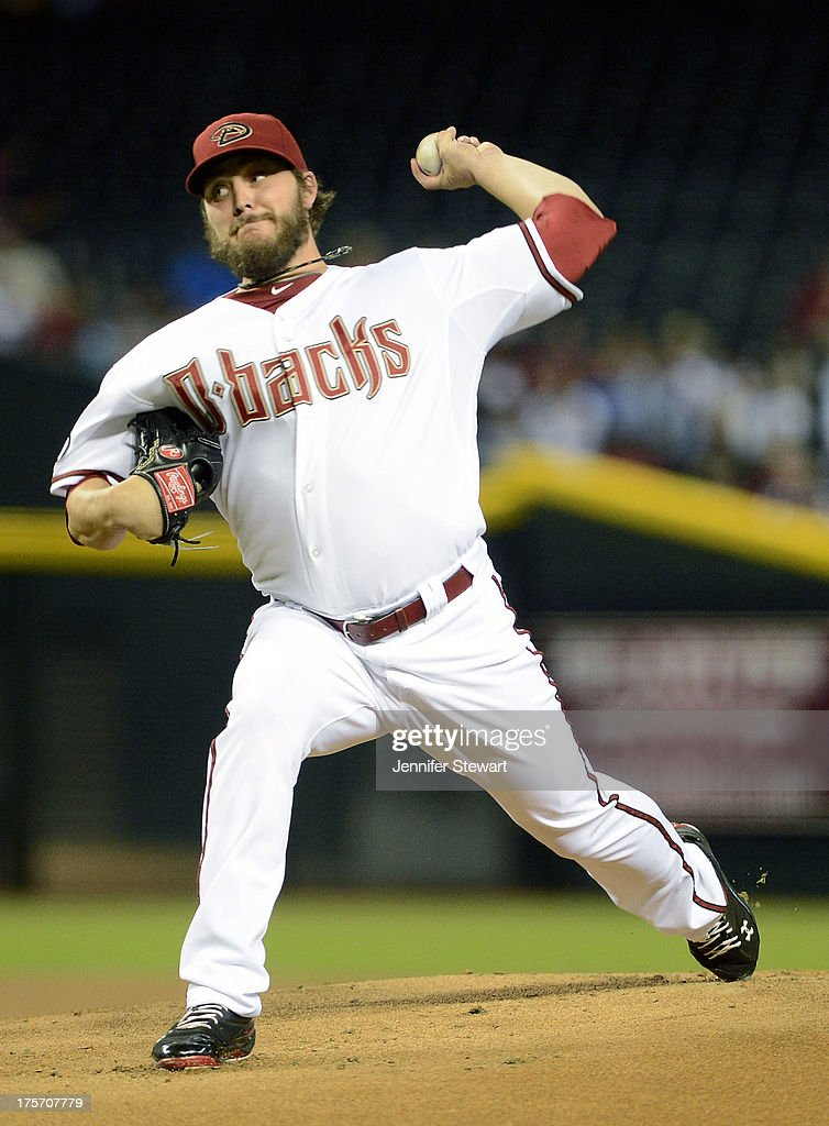 Starting pitcher Wade Miley #36 of the Arizona Diamondbacks pitches against the Tampa Bay Rays in the first inning at Chase Field on August 6, 2013 in Phoenix, Arizona.