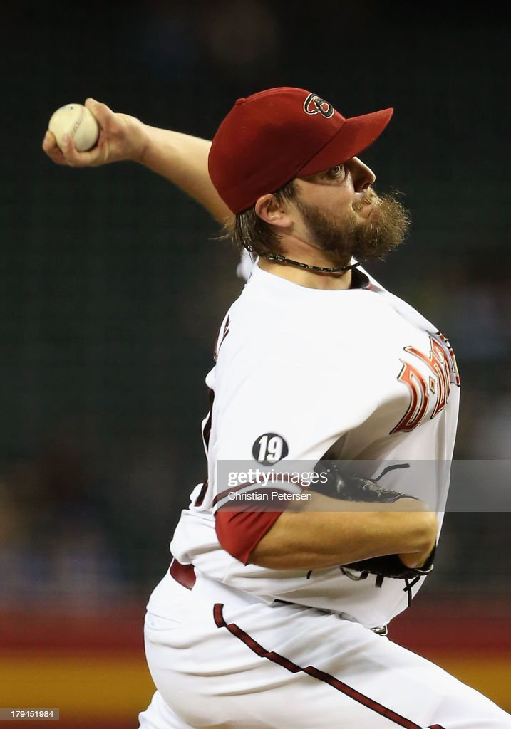 Starting pitcher Wade Miley #36 of the Arizona Diamondbacks pitches against the Toronto Blue Jays during the interleague MLB game at Chase Field on September 3, 2013 in Phoenix, Arizona.