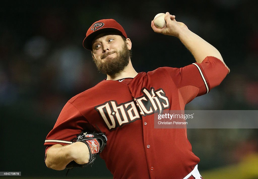 Starting pitcher Wade Miley of the Arizona Diamondbacks pitches against the Los Angeles Dodgers during the MLB game at Chase Field on August 27 2014...