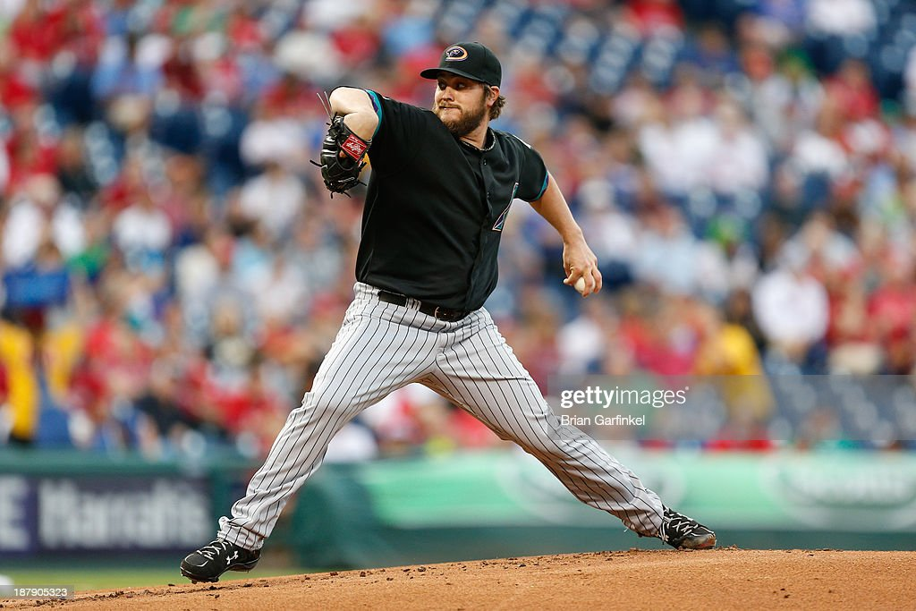 Starting pitcher Wade Miley #36 of the Arizona Diamondbacks throws a pitch during the game against the Philadelphia Phillies at Citizens Bank Park on August 23, 2013 in Philadelphia, Pennsylvania. The Phillies won 4-3.